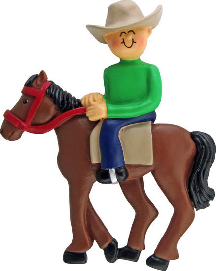 Horse Back Rider, Male- Personalized Ornament