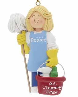 House Cleaner/Janitor, Blonde Female- Personalized Ornament