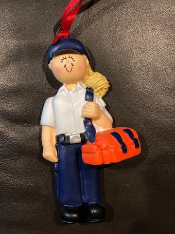 EMT, Blonde Hair, Female- Personalized Ornament