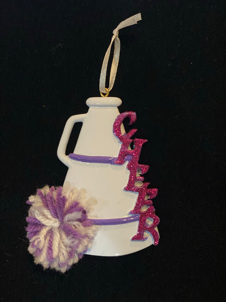 Cheer, Megaphone, Purple- Personalized Ornament