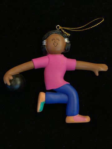 Bowler, Female, Dark Skin- Personalized Christmas Ornament