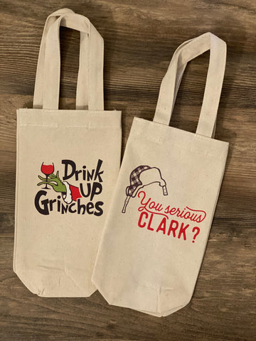 Holiday Themed Canvas Wine Bag with Handles