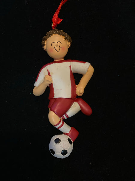 Soccer Player Boy- Brown Hair Personalized Ornament