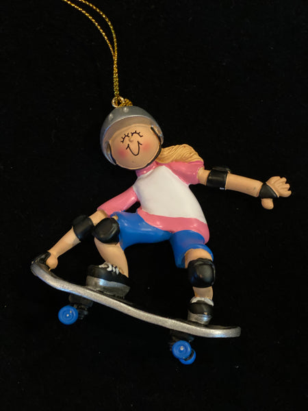 Skateboarder Girl- Personalized Christmas Ornament