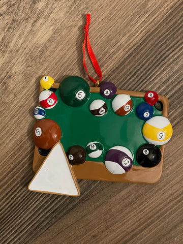 Billiards- Personalized Christmas Ornament