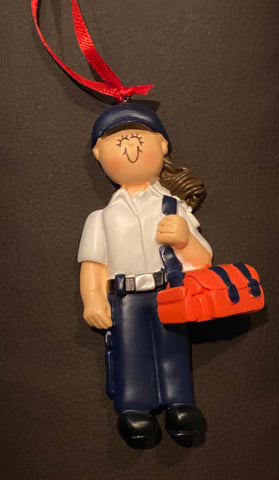 EMT, Brown Hair, Female- Personalized Ornament