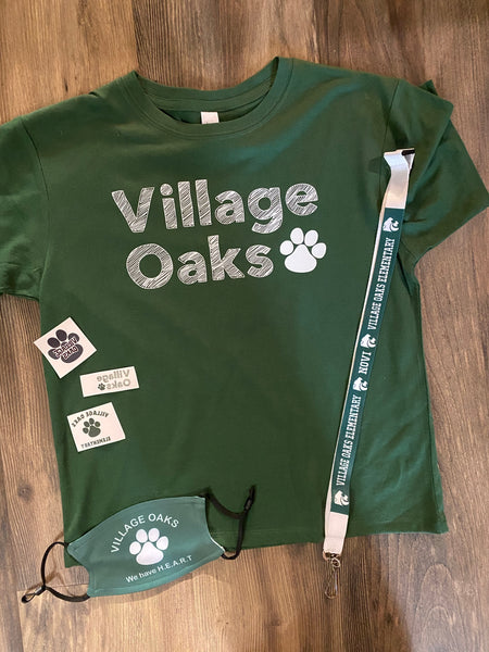 Village Oaks T-shirt, Face Mask and Lanyard Package
