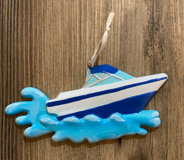 Speed Boat- Personalized Christmas Ornament