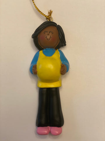 Pregnant/Expecting, Dark Skin Female- personalized ornament