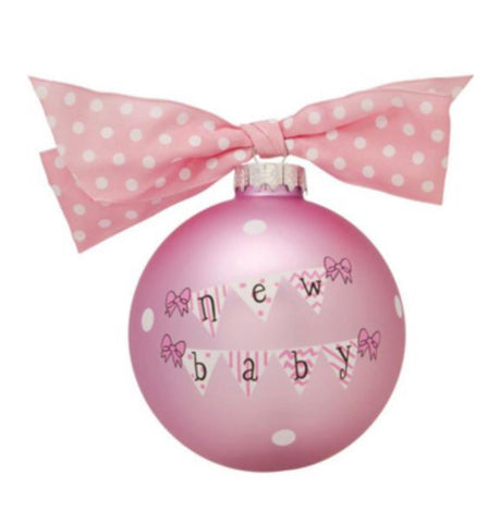 New Baby Girl -Pink Glass Bulb