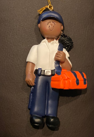 EMT, Dark Skin, Female- Personalized Ornament