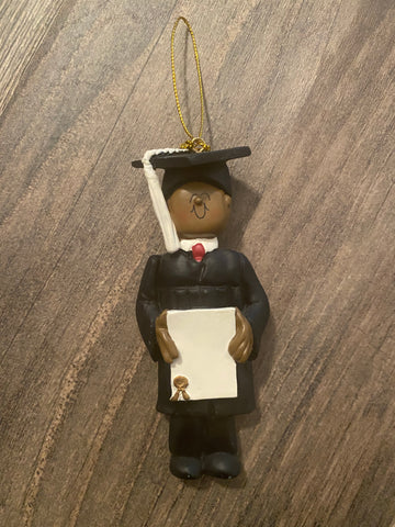 Graduate, Male, Dark Skin Personalized Ornament