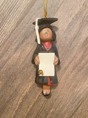 Dark Skin Female Graduate Personalized Ornament