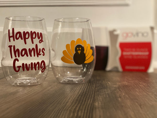 Thanksgiving Shatterproof Govino Wine Glasses, Happy Thanksgiving