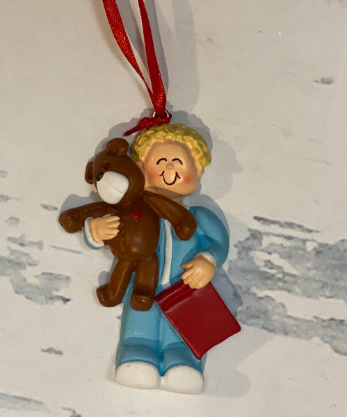 Toddler Boy with Bear, Blonde Hair Christmas Ornament
