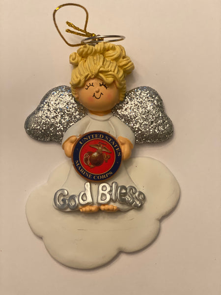 God bless Marine Corps-personalized ornament