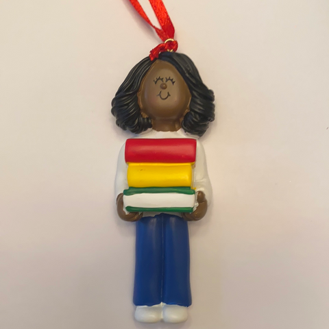 Student with books, Dark Skin, Female- Personalized Christmas Ornament