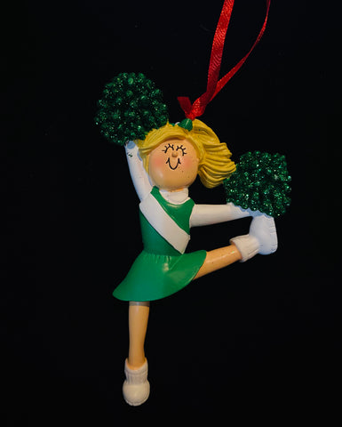 Cheerleader with Blonde Hair and Green Uniform- Personalized Ornament