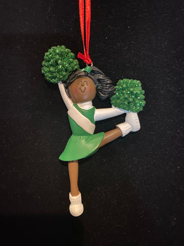 Cheerleader with Green Uniform, Dark Skin- Personalized Ornament