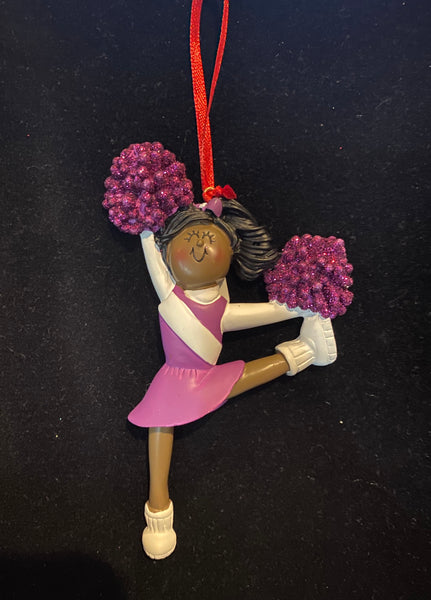 Cheerleader with Purple Uniform, Dark Skin- Personalized Ornament