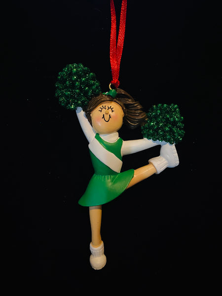 Cheerleader with Brown Hair and Green Uniform- Personalized Ornament