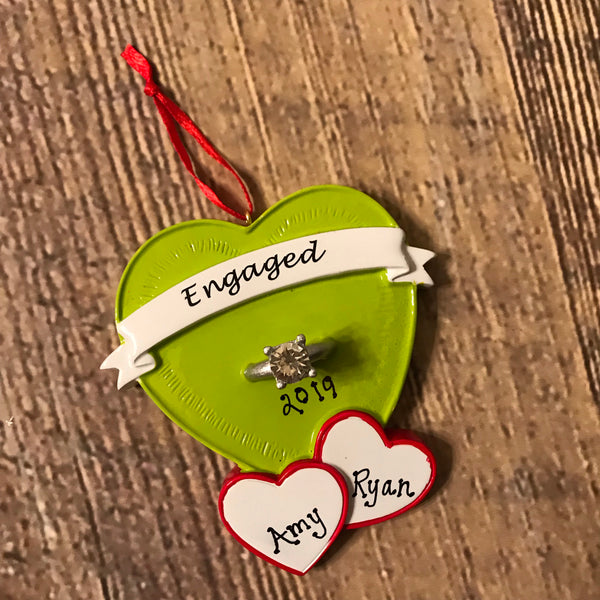 Personalized Ornament- Engaged Green Heart