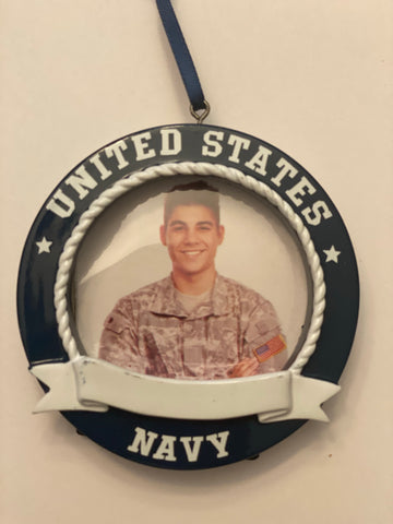 Navy, hanging frame- Personalized Ornament
