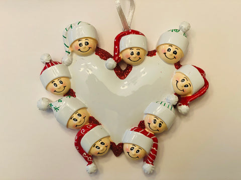 Heart with faces, family of 9 personalized ornament