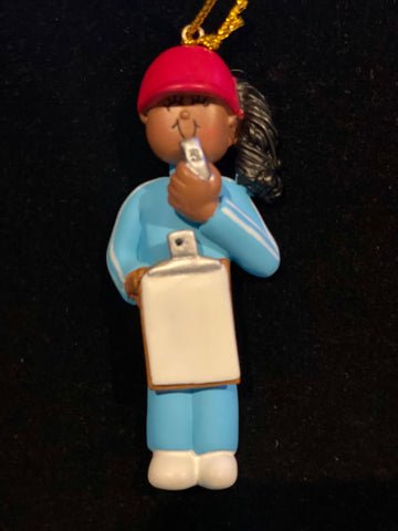 Coach/Referee, Female, Dark Skin-Personalized Ornament