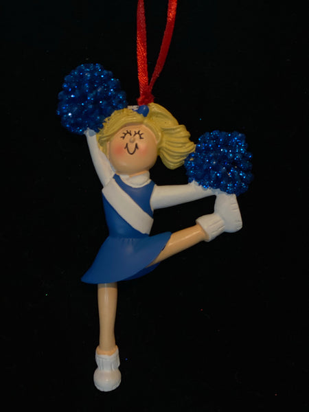 Cheerleader with Blonde Hair and Blue Uniform- Personalized Ornament