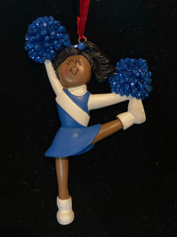 Cheerleader with  Blue Uniform, Dark Skin- Personalized Ornament