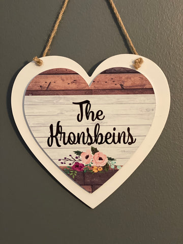 Personalized Wood & Metal Heart Door Sign