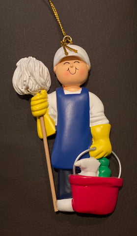 House Cleaner/Janitor, Male- Personalized Ornament