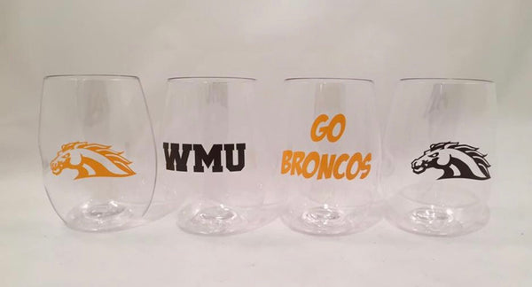 Western Michigan shatterproof Govino Wine Glasses (set of 4)