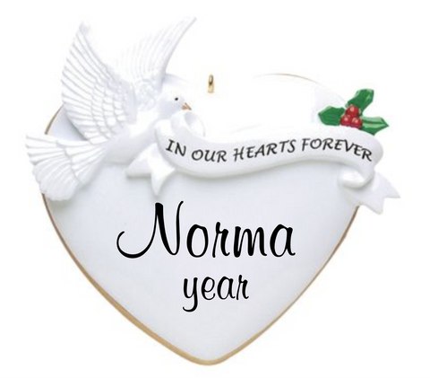 In our hearts forever personalized ornament