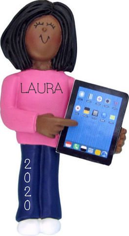 Tablet Lover, Female, Dark Skin- Personalized Ornament