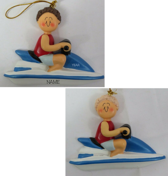 Jet Ski Male- Personalized Christmas Ornament