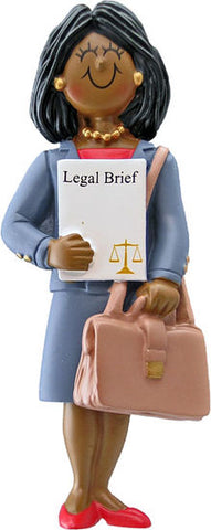 Attorney/Lawyer, Dark Skin, Female- Personalized Ornament