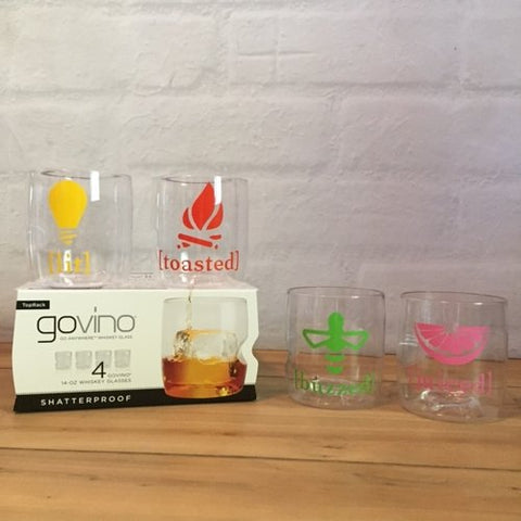 Lit, Juiced, Buzzed, Toasted Govino Whiskey/Cocktail Glasses (set of 4)