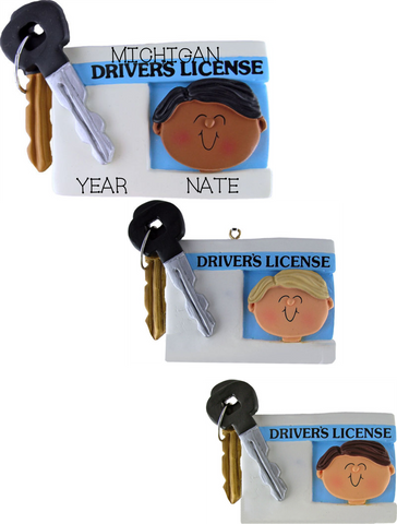Driver's License, Male- Personalized Christmas Ornament