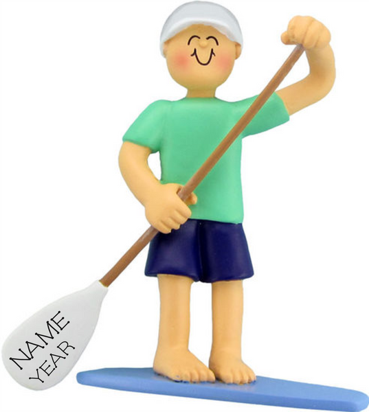 Male Paddle Boarder- Personalized Christmas Ornament