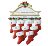 White Mantle-  Family of 9 Personalized Ornament