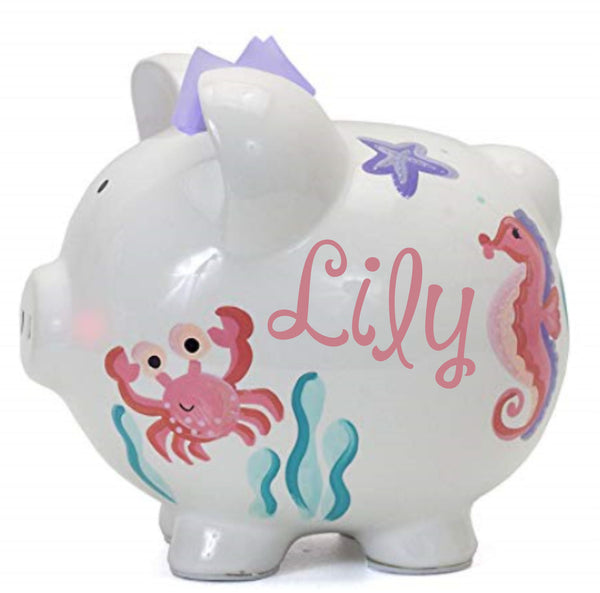 Personalized Mermaid Piggy Bank