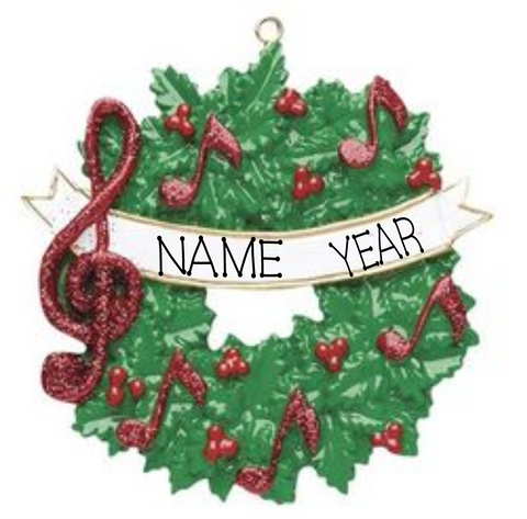Music Wreath- Personalized Christmas Ornament