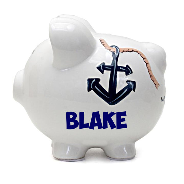 Personalized Nautical Themed Piggy Bank