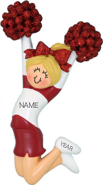 Cheerleader (new) with Blonde Hair and Red Uniform- Personalized Ornament
