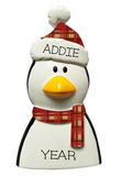 Penguin with Plaid Scarf and Hat- Personalized Ornament