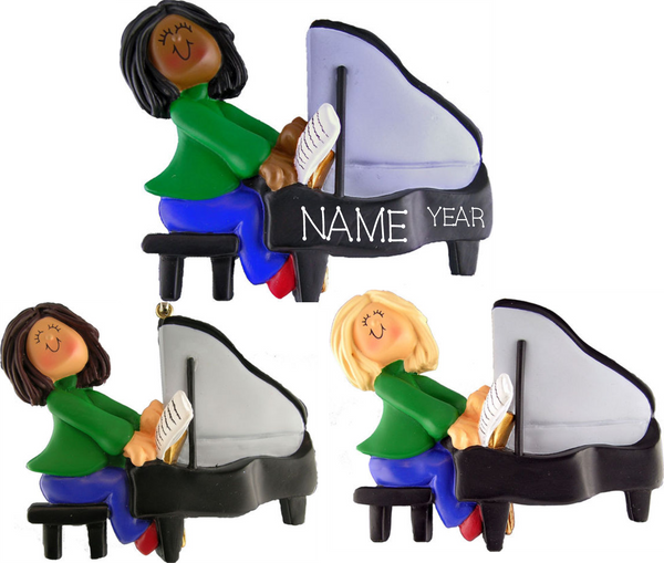 Piano Player, Female- Personalized Christmas Ornament
