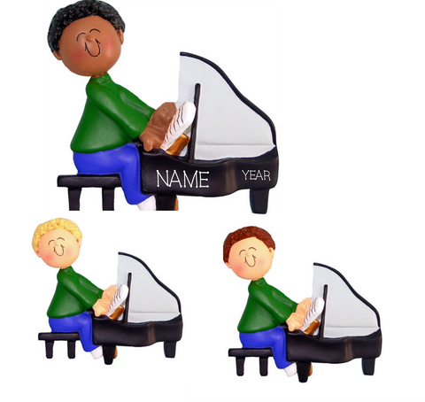 Piano Player Male- Personalized Christmas Ornament