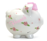 Personalized Posies and Polka Dots Piggy Bank